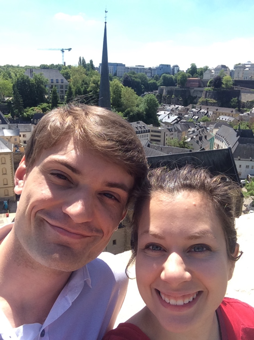 Rebekah Mays and her husband on a trip to Luxembourg for a marathon